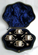 Victorian Era London Sterling Silver 4 Personal Salts And Spoons In Fitted Case