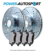 Front Power Cross Drilled Slotted Plated Brake Rotors + Ceramic Pads 86508pk