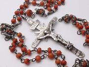 Rare Antique Huge 19 Sterling Silver Rosary Red Coral Beads Skull Cross