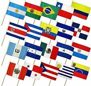 Latin American Countries Flag With Sturdy Wooden Garden Pole 12 X 18 Set Of 20