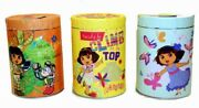 Dora The Explorer Set Of 3 Large Round Illustrated Tin Coin Banks New Unused