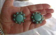 Vintage Faux Turquoise Chunky Beads Around Bold Buttons Big Clip On Earrings
