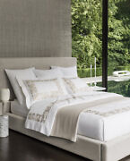 Italy Sferra Saxon Cotton Percale Duvet Cover With Elaborate Embroidery