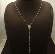 17 2mm Rosary Ball Chain Medal Cross Crucifix Necklace Real 10k Yellow Gold