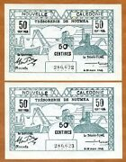 Set New Caledonia 2 X 50 Centimes Consecutive Pair P-54 1943 Wwii Unc