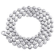 Real 10k White Gold Bead Moon Cut Link Solid Chain Necklace 5mm | 24 - 30 Inches