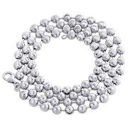 Real 10k White Gold Bead Moon Cut Link Solid Chain Necklace 5mm   24 - 30 Inches