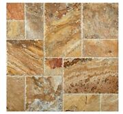 Scabos Travertine Roman / Midi Versailles Pattern Tiles Brushed And Chiseled