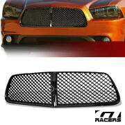 For 2011-2014 Dodge Charger Blk Luxury Badgeless Mesh Front Bumper Grill Grille