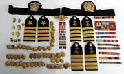Large Wwii Navy And Merchant Marine Captain Boards Badges Buttons And Decorations