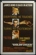 Goldfinger 1964 Us One Sheet On Linen Sean Connery James Bond 007