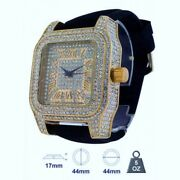 New Ice Master Gold Tone,crystals,bling,black Silicone Band,roman 's Watch