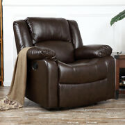 Recliner Chair Deluxe Club Large Overstuffed Cushion Faux Leather Padded Brown