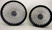 Dna Black Mammoth Fat 52 Spoke Wheels Harley 21x2.15 And 16x3.5 Sportster Softail