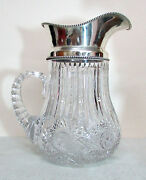 Vintage Willcox Connecticut Sterling Silver And Brilliant Cut Glass Water Pitcher