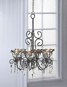 Black Iron And Smoky Glass Hanging Tealight Candle Chandelier