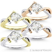 Round Brilliant Cut Moissanite Two-tone 14k Gold Fancy Solitaire Engagement Ring