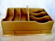Gold Color Wood/wooden Desk Top Organizer/tote W/drawer And Carrying Handle