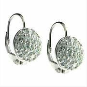 925 Silver Cz Round Pave Lever-back Earrings