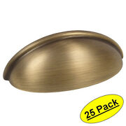 25 Pack Cosmas Cabinet Hardware Brushed Antique Brass Cup Handle Pull 783bab