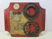 Vintage Cast Iron Stove Parts On Modern Wooden Plaque- Wall Art