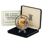 175th Anniversary Waterloo Commemorative Silver Medal. Marvelous Toning