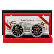 Palau Year Of The Dragon 5 2012 .999 Silver Colored Coin Proof Set Mint Box And C