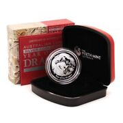 Australia Year Of The Dragon 1 Oz 2012 Proof Silver Crown Perth Mint Case And Coa