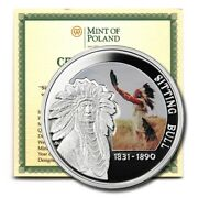 Niue Great Commanders Sioux Chief Sitting Bull 1 2010 Proof Silver Crown Coa Km