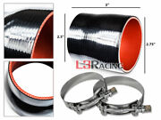 Black 2.75-2.5 70-63mm 3-ply Silicone Turbo Intake Intercooler + Clamps Hy