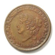 1841 Us Liberty Head Hard Times Token - Not One Cent - Ht-58 Vf