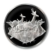 Franklin Mint East African Wild Life Society Thomson's Gazelles 1971 2 Oz Proof
