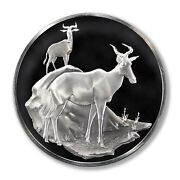 Franklin Mint East African Wild Life Society Kongoni Hartbeests 1971 2 Oz Proof