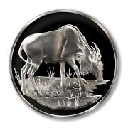 Franklin Mint East African Wild Life Society Eland 1971 2 Oz Proof Silver Medall