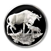 Franklin Mint East African Wild Life Society Wildebeests 1971 2 Oz Proof Silver