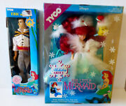 Set Of 2 Disney Tyco The Little Mermaid Holiday Ariel Doll And Eric Action Figures