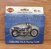Genuine Harley Davidson Motorcycles Collectible Tin And Playing Cards With Box