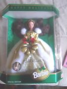 Happy Holidays Barbie 1994 Brunette Le Ww 540 Teddy Bear Convention Signed Rare