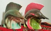 2 SWORDFISH vtg california art pottery ceramic wallpocket vase florida beach