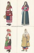 Russia - 24 Postcards - Russian Costumes, Drawing By N.vinogradova