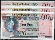 Bank Of Ireland Ltd Belfast Andpound10 Ten Banknotes 2000 2005 2008 Real Currency Notes