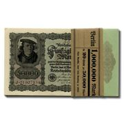 Germany Hyperinflation Banknotes Bank Wrapped Consecutive Notes 50000 Mark 1922