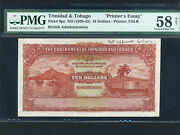 Trinidad And Tobagop-9p101942 Wwii Pmg Ch. Au 58 Net Proof Rare