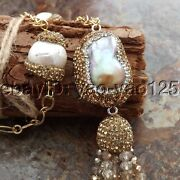 22 Freshwater Cultured White Keshi Pearl Chain Crystal Pendant Necklace