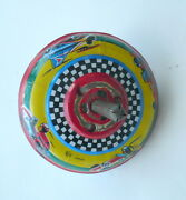 Tin Spin Top Toy Lithographed Race Cars Skk Made In Japan 3 Diameter.
