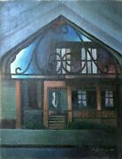 Doorway To My House Modernist Oil Painting-1946-august Mosca