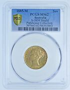 1885 M Shield Sovereign, Melbourne Mint, Slabbed Pcgs Ms62, Gold Coin Victoria