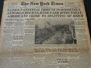 1945 April 15 New York Times - Nation Pays Final Tribute To Roosevelt - Nt 6000