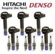 For Acura Honda Saturn V6 6 Direct Ignition Coils Hitachi And 6 Spark Plugs Kit