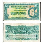 British Armed Forces Special Voucher Mpc 2nd Series Sixpence 1948 Pick M17 Very